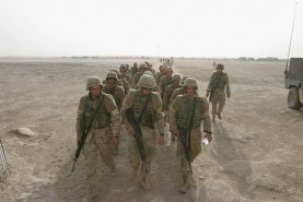 2d AAV Marines @Convoy Support Center Cedar II, Iraq, during break in convoy north from Kuwait to Iraq, July 2004