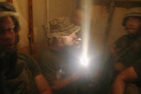 Inside bunker as mortars hit up top, Russian Village, FOB Iskandariyah, July 2004